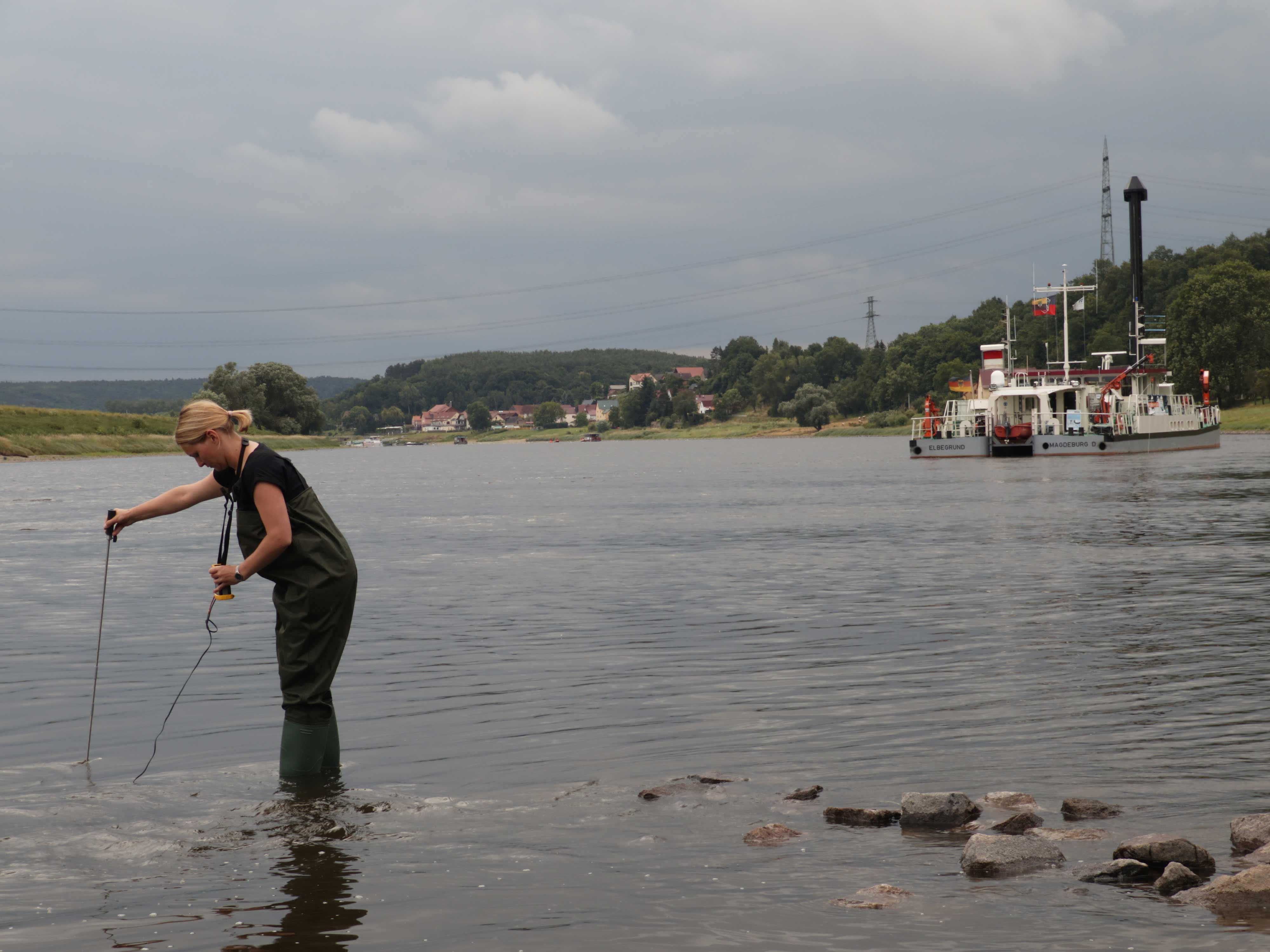 Nadine Müller beim Messen der Fließgeschwindigkeit. Im Hintergrund liegt das Forschungsschiff Elbegrund vor Anker, ©BMBF/Wissenschaftsjahr 2016*17